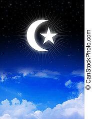 étoile croissant, lune