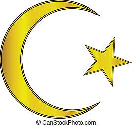 étoile, croissant, or, icône