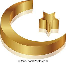 étoile, croissant, or
