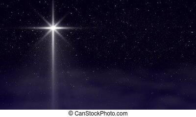 étoile, dépassement, nuages, noël