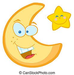 étoile, dessin animé, caractères, lune