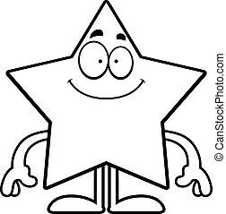 étoile, dessin animé, heureux