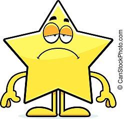 étoile, dessin animé, triste