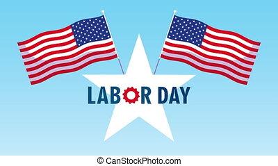 étoile, drapeaux, célébration, heureux, jour, usa, main-d'œuvre