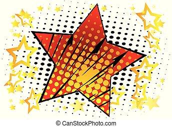 étoile, effect., grand livre, fond, comique, rempli