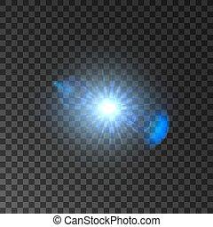 étoile, effet lumière, fusée objectif, briller