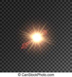 étoile, effet lumière, lentille, soleil, flamme