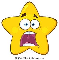 étoile, effrayé, caractère, type caractère jaune, expressions, panique, dessin animé, emoji