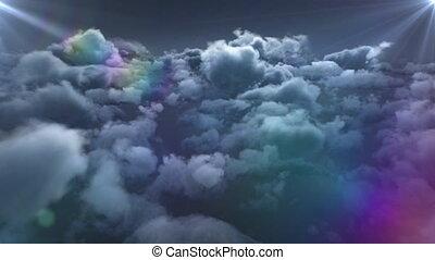 étoile, en mouvement, ciel, nuages, animation, bleu, errant