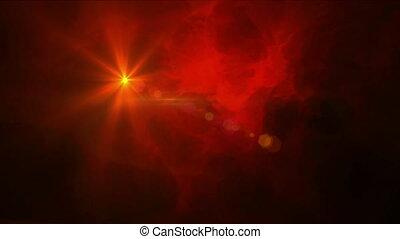 étoile, en mouvement, nuage, rouges, animation, errant,...