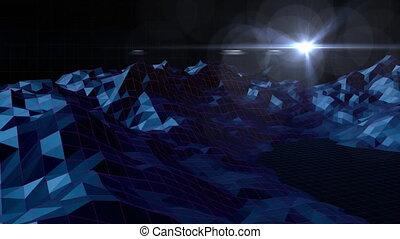 étoile, en mouvement, tourner, animation, montagnes,...