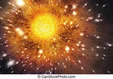 étoile, exploser, extérieur, fond, espace