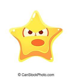 étoile, fâché, caractère, type caractère jaune, émotif, crier, dessin animé