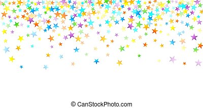 étoile, falling., fête, carnaval, confetti., arc-en-ciel