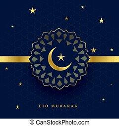 étoile, festival, carte, voeux, heureux, lune, eid