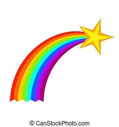 étoile filante, dessin animé, coloré