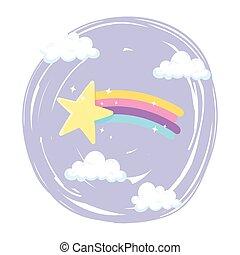 étoile filante, nuages, ciel, dessin animé, arc-en-ciel