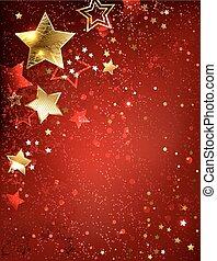 étoile, fond, or, rouges