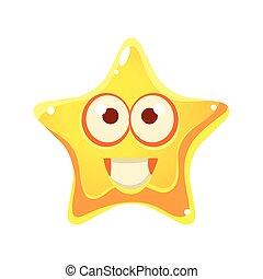 étoile, grand, caractère, type caractère jaune, sourire, yeux, dessin animé