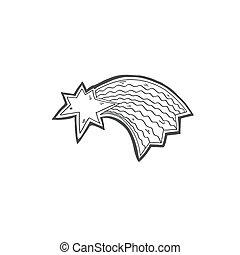 étoile, griffonnage, queue, comète, tir, icône