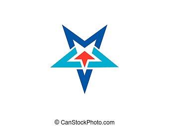 étoile, haut, vecteur, flèche, logo, ligne