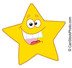étoile, heureux, caractère, dessin animé, mascotte
