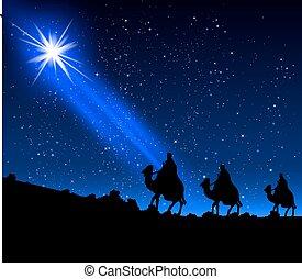 étoile, hommes, sage, trois