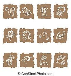 étoile,  horoscope, ensemble, vecteur, zodiaque, signes