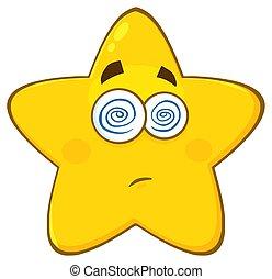 étoile, hypnotisé, caractère, type caractère jaune, hébété, expression, dessin animé, emoji