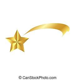 étoile, icône, symbole, isolé, illustration, vecteur, fond, comète, blanc, tir, noël, ruban, design.