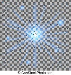 étoile, illustration., éclater, effet lumière, particles., arrière-plan., vecteur, transparent, lueur