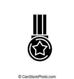 étoile, illustration, isolé, signe, vecteur, arrière-plan noir, icône, médaille