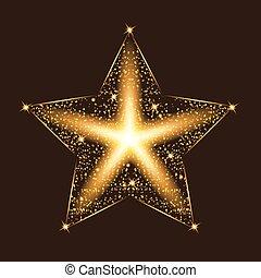 étoile, illustration., lumière or, particles., effects., vecteur, scintillement, lueur