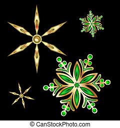 étoile, illustration., or, vecteur, snowflake., noël