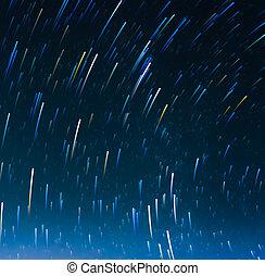 étoile, image, trails., longue exposition
