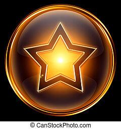 étoile, isolé, or, fond, blanc, icône