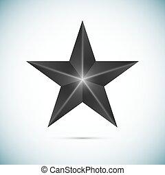 étoile, isolé, vecteur, arrière-plan noir, blanc