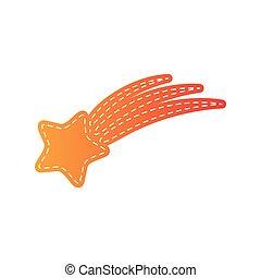 étoile, isolated., signe., applique, orange, tir