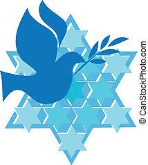étoile, israël, paix, david, colombe blanc, jour, ...