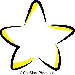 étoile jaune, illustration, blanc, vecteur, arrière-plan.