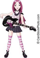 étoile, jouer, girl, rocher, guitare