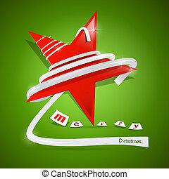 étoile, joyeux, résumé, vecteur, arrière-plan vert, noël, rouges