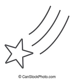 étoile, linéaire, signe, modèle, espace, arrière-plan., vecteur, mince, tomber, nuit, graphiques, icône, blanc, tir, ligne