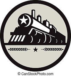 étoile, locomotive, train, retro, cercle, vapeur