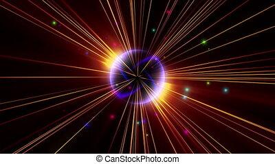 étoile, lumière, atome, rayon, pouls, 4k