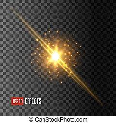 étoile, lumière, flash, effet, lentille, vecteur, flamme, icône