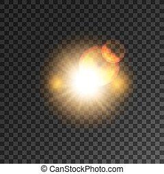 étoile, lumière or, flash, effet, fusée objectif