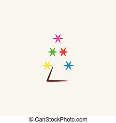 étoile, lumières arbre, vecteur, noël, icône