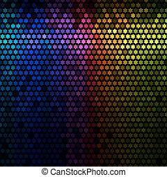 étoile, lumières, résumé, disco, arrière-plan., multicolore, vector., pixel, mosaïque