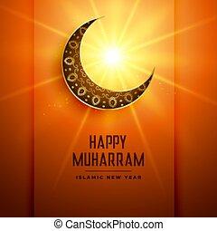 étoile, lune, incandescent, muharram, fond, heureux